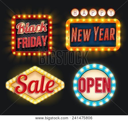 Black Friday Or New Year Sale Discount Promo Offer Icons For Posters Or Advertising Flyer. Vector Li
