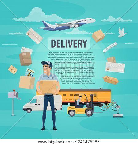 Post Mail Delivery Poster For Postage Logistics. Vector Flat Design Of Postman Or Mailman Delivering