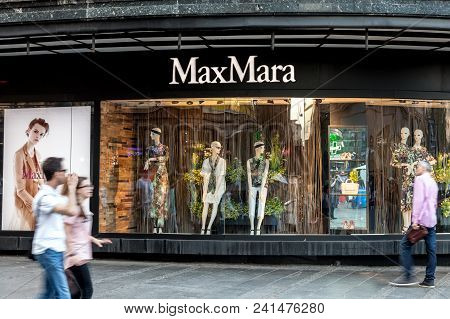 Belgrade, Serbia - April 29, 2018: Max Mara Logo On Their Main Shop In Serbia. Maxmara Max Mara Is A