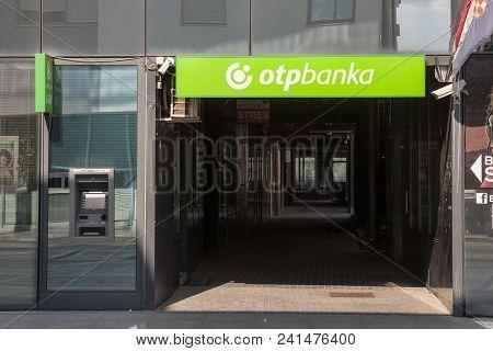 Vukovar, Croatia - May 12, 2018: Otp Bank (otp Banka) Logo On Their Main Office For Vukovar. Otp Ban