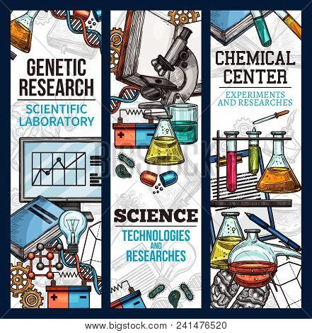 Scientific Banner Sketch Style. Vector Banners For Chemical Center, Concept Of Experiments And Resea