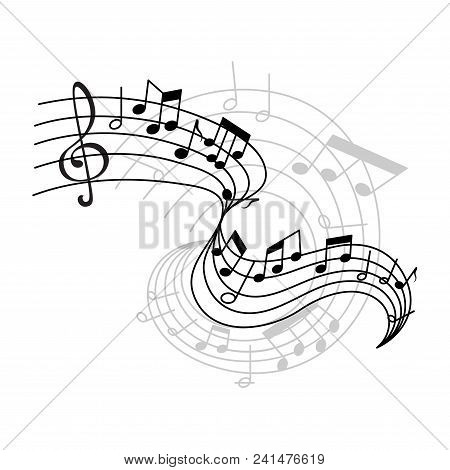 Musical Staff Or Music Stave Notes And Clef For Musical Concept Design. Vector Poster Or Icon Of Mus