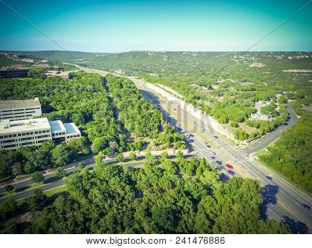 Flyover Green North Capital Of Texas Highway In Austin, Texas, Usa
