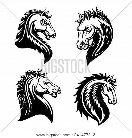 Horse Head Vector Sign. Horse Silhouette Tattoo Template. Black And White Silhouette Of A Horse Head