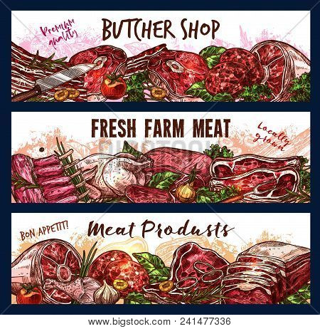 Vector Banner For Fresh Farm Meat Shop. Butcher Shop Premium Quality Vector Poster. Different Kinds