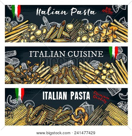 Vector Banners On Black Background With Different Italian Pasta Ravioli Or Gnocchi, Ditalini And Rot