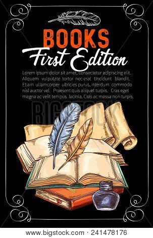 Vintage Rare Books Sketch Poster For Author First Edition Literature Presentation. Vector Design Of