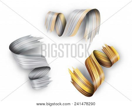 3d Abstract Paint Brush Stroke. Colorful Modern Background With Liquid Paint Brush Texture, Smear Pa