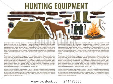 Hunting Equipment Infographic Template With Rifle And Gun, Fire And Tent, Dog And Knife. Concept Of