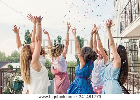 Girls Party. Beautiful Women Friends On The Balcony Having Fun At Bachelorette Party. They Are Danci