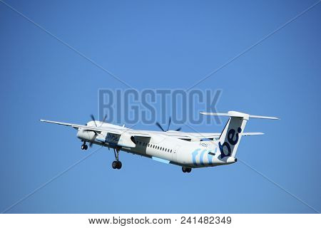 Amsterdam The Netherlands - May 3rd 2018: G-ecog Flybe De Havilland Canada Dhc-8-400 Takeoff From Po
