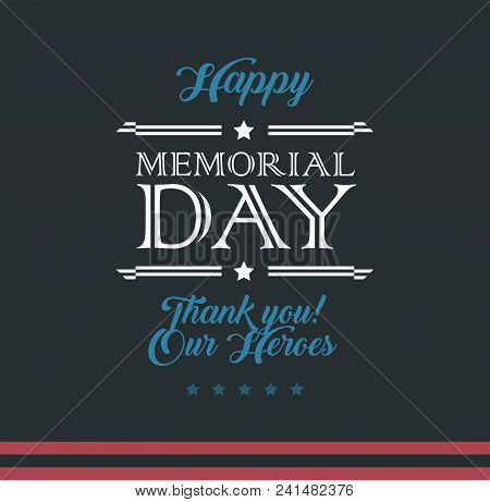 Happy Memorial Day Typography Vector Background - Template Design For Memorial Day - Memorial Day Ve