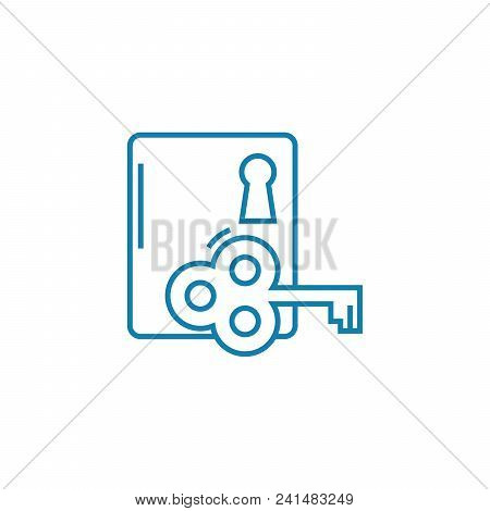 Key To Solving The Problem Line Icon, Vector Illustration. Key To Solving The Problem Linear Concept