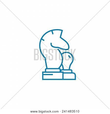Knight Line Icon, Vector Illustration. Knight Linear Concept Sign.