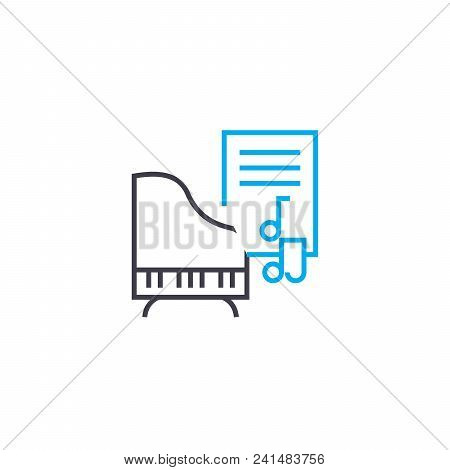 Learning Music Line Icon, Vector Illustration. Learning Music Linear Concept Sign.