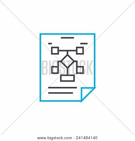 Managment Structure Line Icon, Vector Illustration. Managment Structure Linear Concept Sign.