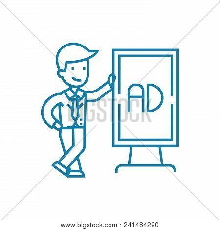 Marketing Specialist Line Icon, Vector Illustration. Marketing Specialist Linear Concept Sign.