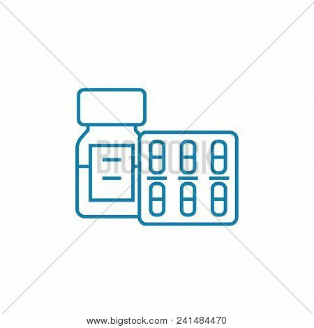 Medical Supplies Line Icon, Vector Illustration. Medical Supplies Linear Concept Sign.