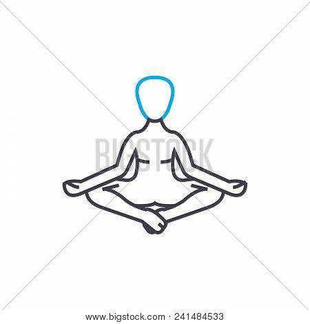 Meditation Techniques Line Icon, Vector Illustration. Meditation Techniques Linear Concept Sign.