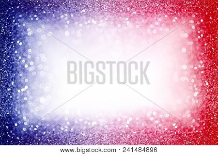 Abstract Patriotic Red White And Blue Glitter Sparkle Background For Party Invite, July Fireworks Bo