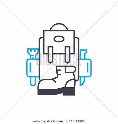 Organization Of Hikes Line Icon, Vector Illustration. Organization Of Hikes Linear Concept Sign.