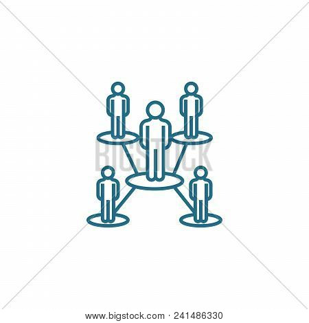 Organizational Structure Line Icon, Vector Illustration. Organizational Structure Linear Concept Sig