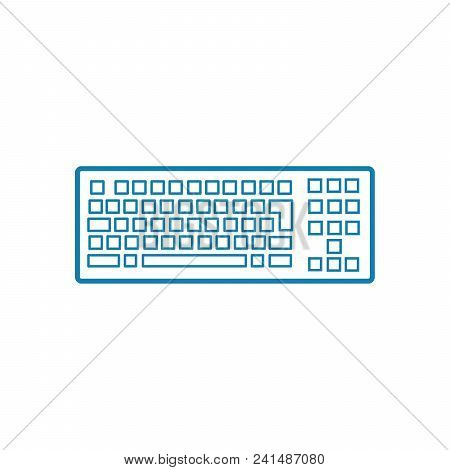 Pc Keyboard Line Icon, Vector Illustration. Pc Keyboard Linear Concept Sign.