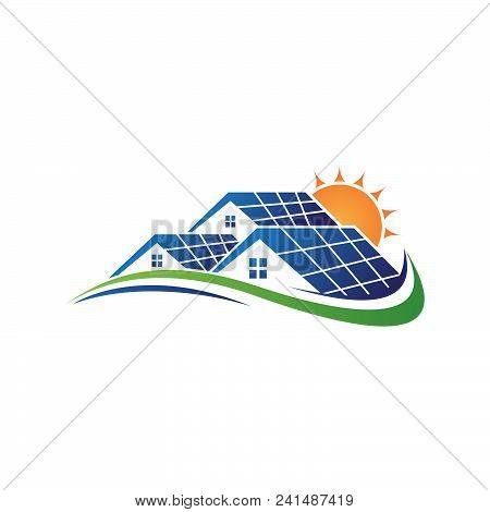 Solar Home And Sun Save Energy Power And Natural Electricity Solar Battery. Recycling Energy Technol