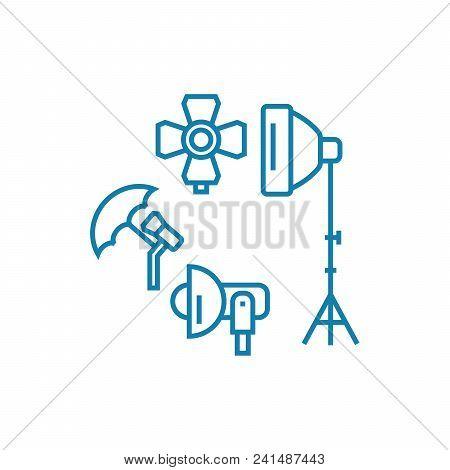 Photographic Equipment Line Icon, Vector Illustration. Photographic Equipment Linear Concept Sign.