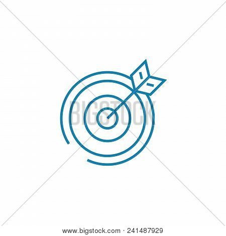 Playing Darts Line Icon, Vector Illustration. Playing Darts Linear Concept Sign.