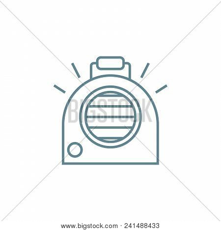 Portable Heater Line Icon, Vector Illustration. Portable Heater Linear Concept Sign.