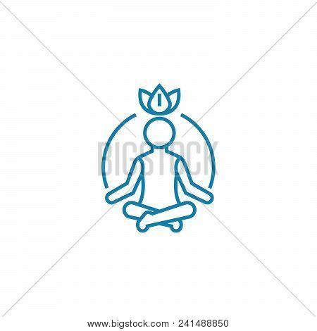 Process Of Meditation Line Icon, Vector Illustration. Process Of Meditation Linear Concept Sign.
