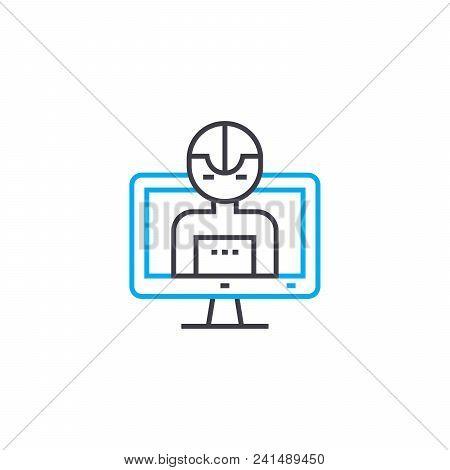 Program Control Line Icon, Vector Illustration. Program Control Linear Concept Sign.