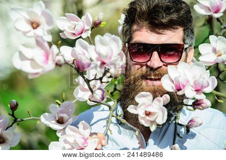 Hipster Happy With Fashionable Sunglasses. Man With Beard And Mustache Wears Sunglasses On Sunny Day