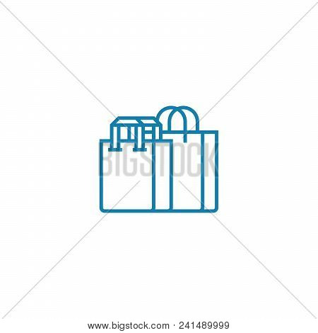 Purchase Of Clothes Line Icon, Vector Illustration. Purchase Of Clothes Linear Concept Sign.