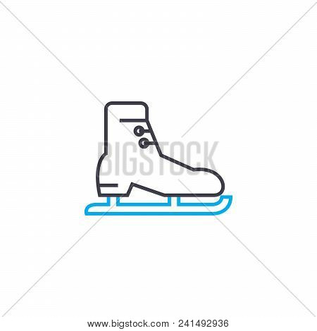 Skating Line Icon, Vector Illustration. Skating Linear Concept Sign.