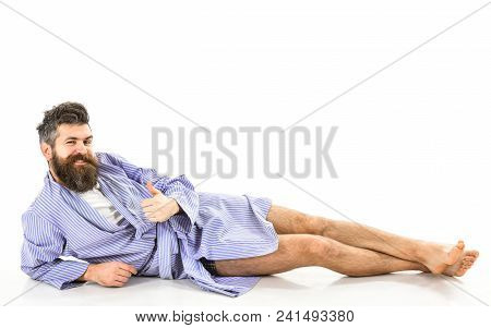Man With Smiling Face Shows Thumb Up Gesture, White Background, Copy Space. Attractive Bachelor Conc