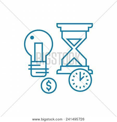 Terms Of Project Implementation Line Icon, Vector Illustration. Terms Of Project Implementation Line