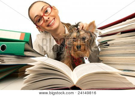 The young student girl with Yorkshire Terrier on table with papers isolated on a white background poster