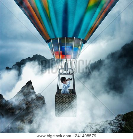 Kid Flying With Hot Air Balloon Through The Clouds At The Peaks Of Mountains, And Looking Through Bi