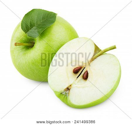 Ripe Green Apple Fruit With Apple Half And Green Apple Leaf Isolated On White Background. Apple Frui