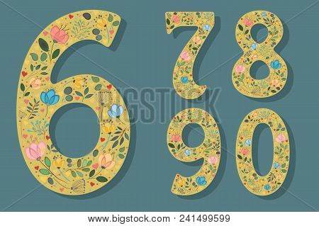 Set Of Floral Yellow Numerals. Graceful Watercolor Flowers And Plants. Small Red And Pink Hearts. Si