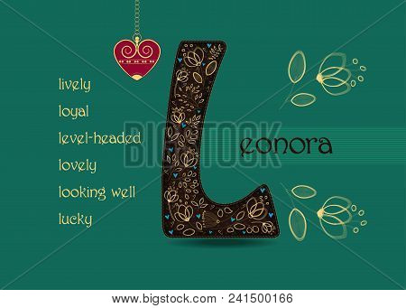 Name Day Card For Leonora. Artistic Brown Letter L With Golden Floral Decor. Vintage Red Heart With