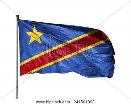 National Flag Of Congo Democratic On A Flagpole, Isolated On White Background.