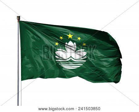 National Flag Of Macau On A Flagpole, Isolated On White Background.