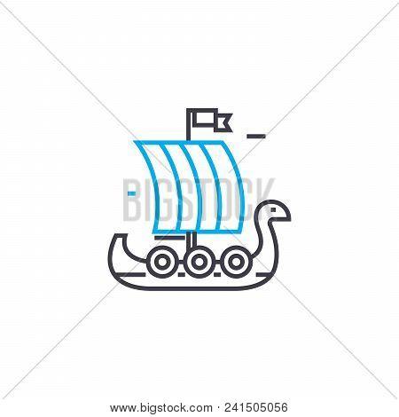 Wooden Sailer Line Icon, Vector Illustration. Wooden Sailer Linear Concept Sign.