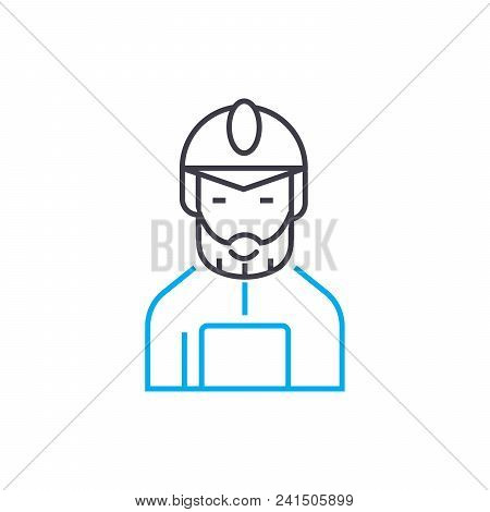Worker In A Special Suit Line Icon, Vector Illustration. Worker In A Special Suit Linear Concept Sig