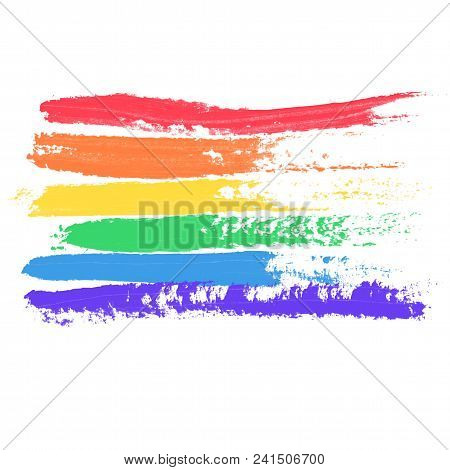 Conceptual Poster With Lgbt Rainbow Flag. Colorful Messy Handdrawn Flag Isolated On White Background
