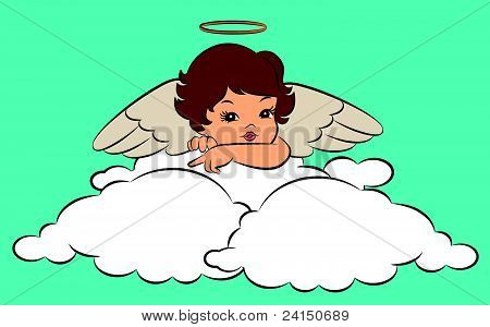 A beautiful angel with wings on the background of vector