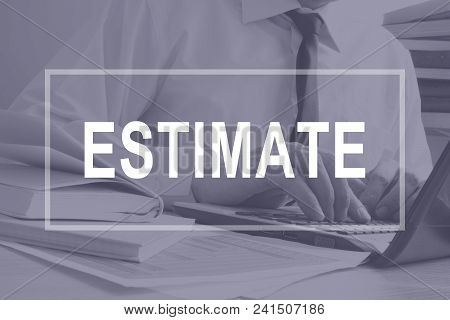 Estimate concept. Man is working with laptop. Assessment. poster